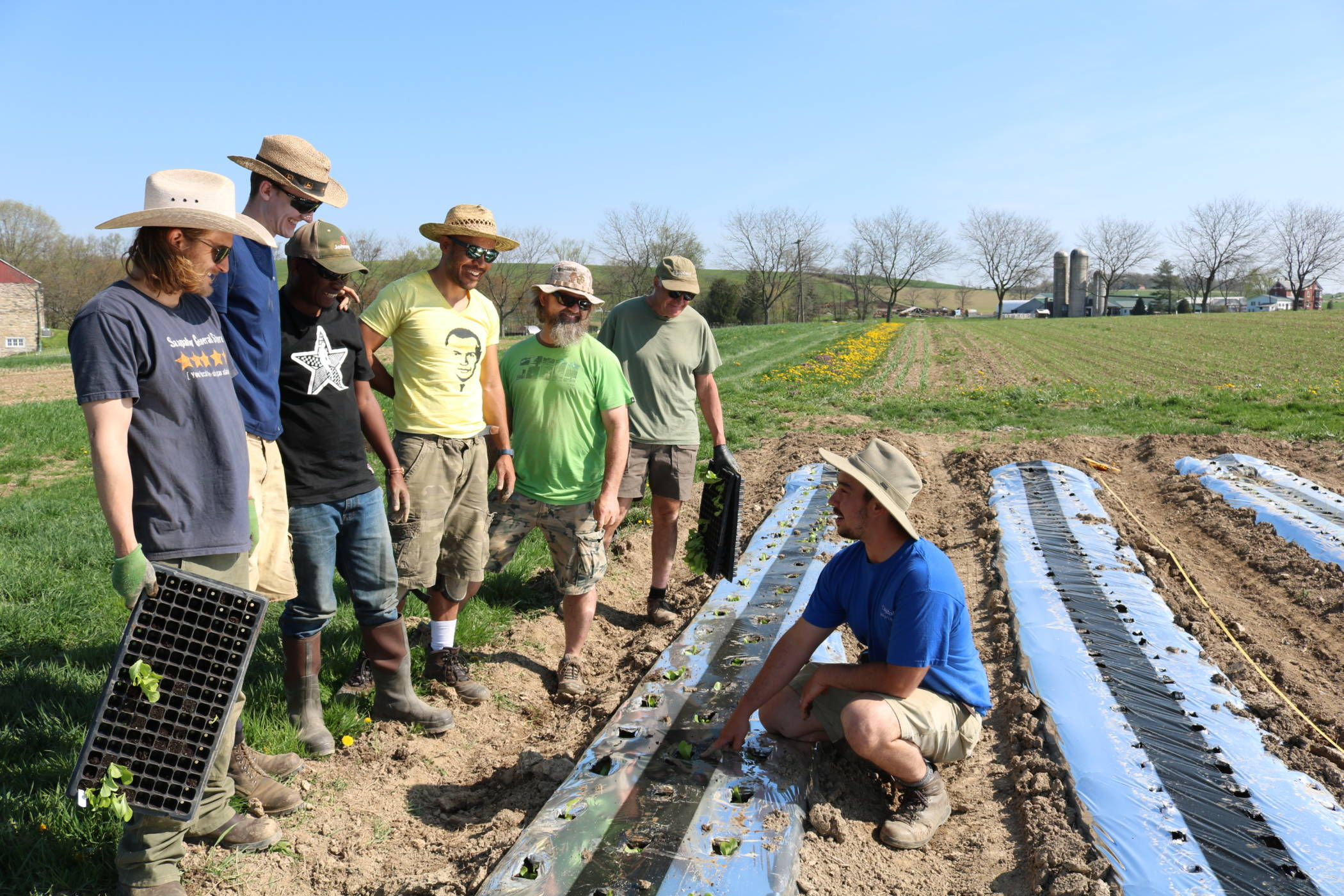 Farm trainees learning in the field