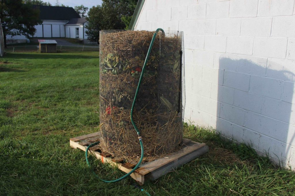 soaking a compost pile
