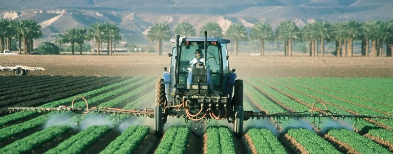 Conventional farmer drives over fields spraying from tractor