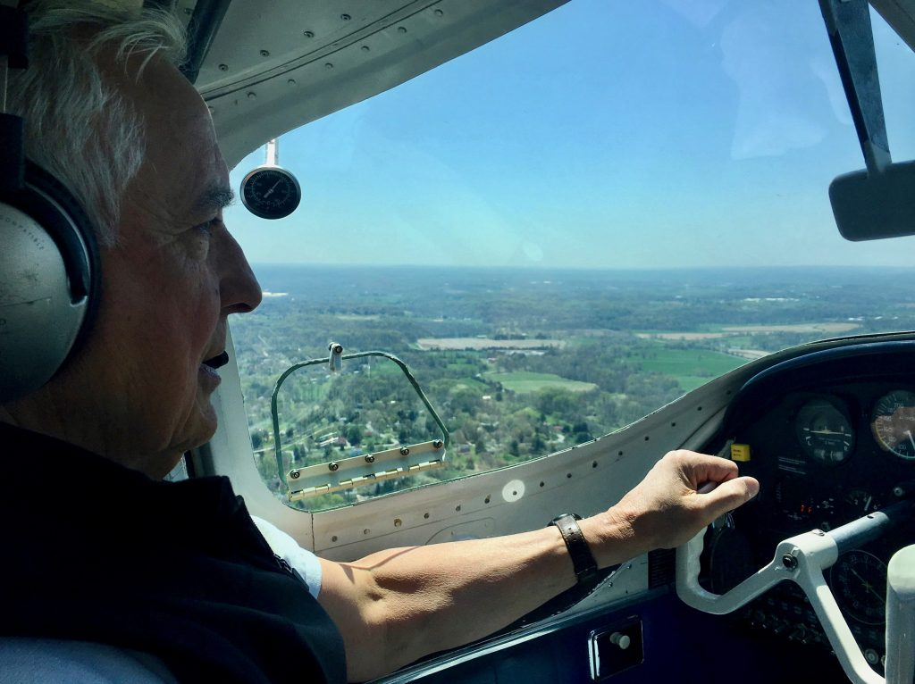 A pilot flies over the site of Rodale Institute's new research on agriculture and water conservation