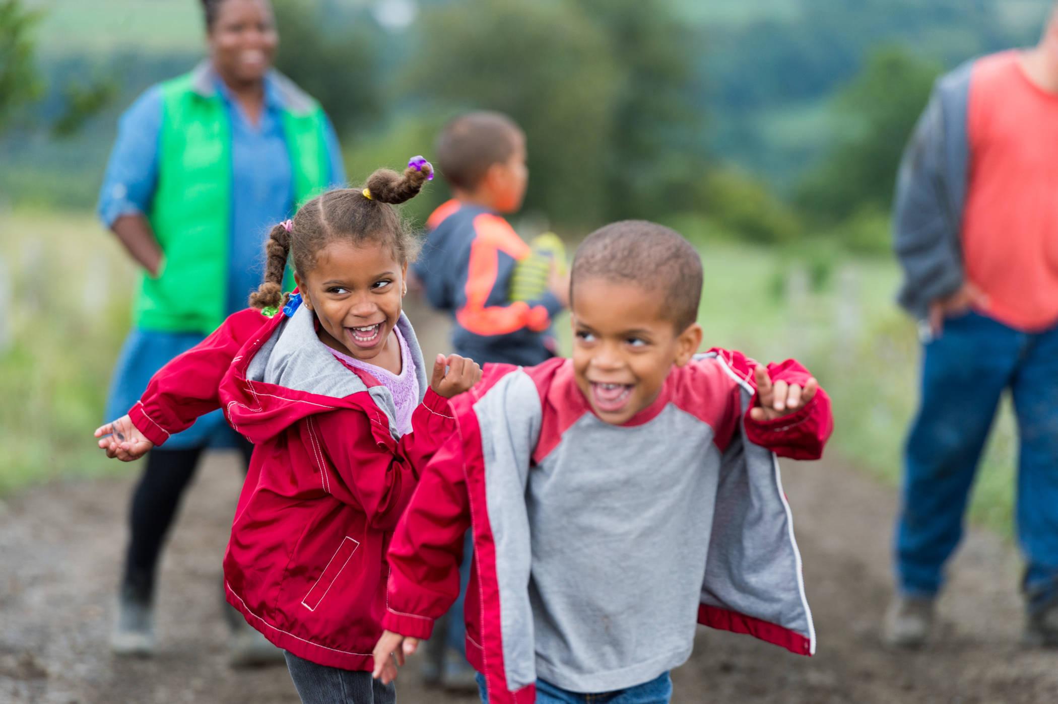 kids enjoying the farm